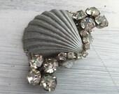 Beach Wedding No.18 - Shimmering Silver Seashell and Vintage Rhinestone Assemblage Bridal Hair Comb, Coastal Wedding