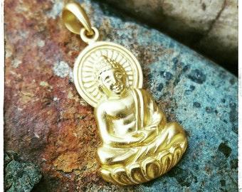 Gold Buddha Charm - Large 24K Gold Buddha