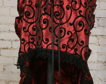 Deep Red & Black Swirl Knee Length Bustle Skirt