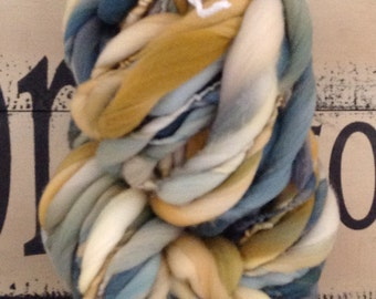 Rocky Mountain    Dyed and Hand Spun Bulky Thick & Thin Yarn blanket baby hat leg warmers photo prop
