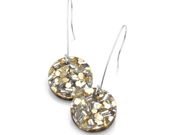 Gold and Silver Confetti Maxi Glitter Drop Earrings