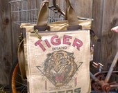 Tiger Seed - Peking Illinois -  Americana Vintage Seed Feed Sack Book Tote W- OOAK Canvas & Leather Tote .. Selina Vaughan