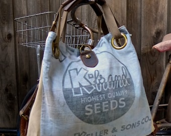 K Brand Seeds - Quincy Illinois - Blue - Open Tote - Americana OOAK Canvas & Leather Tote... Selina Vaughan Studios