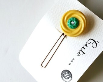 Cute as a Button--Yellow and Jade Green Vintage Button Hair Pin