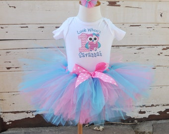 Look Whoo's 1 Birthday Tutu Outfit in Pink & Turquoise- Personalized Baby Girl- Owl Themed