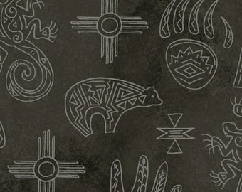 Native Spirit Southwest Motifs Black, 1 Yard