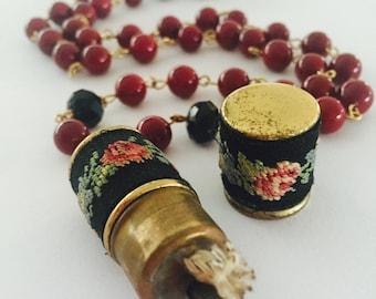 RESERVED Vintage necklace, statement necklace, Petit point, Lighter