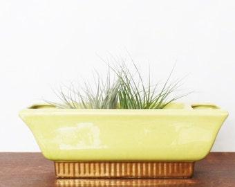 Vintage Retro StanfordWare Gilded Chartreuse Green Pottery Planter, Succulent Planter, Herb Garden Pot, Air plants