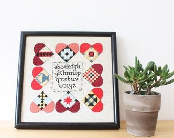 Vintage Handmade Framed Needlework Alphabet, Folk Art Cross Stitch Alphabet with Hearts, Classroom, Homeschool, Wall Decor,Framed Art Design