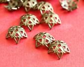 Top Quality 50pcs Antique Bronze Finish Brass Flower Bead Caps KK-B505-AB