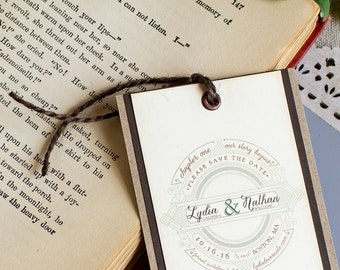 Vintage Story Book Save the Date Bookmark - literary save the date - library save the date bookmark - fairy tale wedding - storybook - green