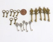 Key Charms, Embellishments, Bronze and Silver Tone, 3 sizes, 17 pieces, Jewelry, Scrapbooking, Cards, Tags, Dollhouse Key