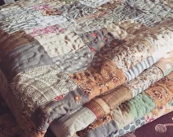 miss havisham farmhouse quilt made to order-- queen size -- pale gray, cream, linen, soft