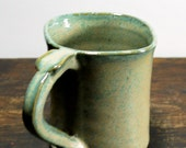 Square Aqua Green Mug with Thumb Rest Wheel Thrown Clay Pottery Ready To Ship
