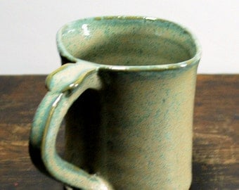 Square Mug with  Thumb Rest Aqua Green Wheel Thrown Clay Pottery Ready To Ship