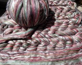 4 oz Braids of Ashland Bay 70/30 Merino/Tussah Silk Combed Top in Autumn Colorway 21 micron wool = Next to skin softness - Luxury fibers
