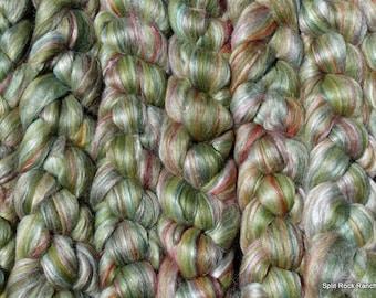 4 oz Braids of Ashland Bay 70/30 Merino/Tussah Silk Combed Top in Green colorway Next to Skin Soft Luxury Fibers