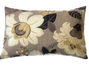 Decorative Lumbar Pillow Cover Black Taupe Ivory Gold Bold Floral Same Fabric Front/Back Toss Throw Accent 12x18 inch   x