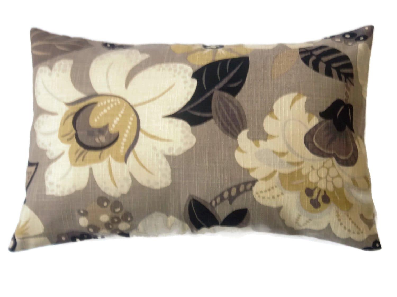 Decorative Lumbar Pillow Cover Black Taupe Ivory Gold Bold
