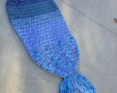 Ready to Ship Toddler Mermaid Tail Child Afghan Ocean Decor Fantasy Cosplay  Nautical Theme Merman Book Gift Turquoise Blue Blanket