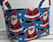 Storage and Organization - Fabric Organizer Container Bin Basket - Fun Santa - Christmas Holiday Fabric