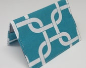 Sale / Clearance - READY TO SHIP - Passport Holder Cover Case Cruise Holiday Travel Holder - True Turquoise Gotcha Fabric