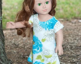 "Doll Girl clothes 18"" doll jersey knit dress american made floral dress short sleeve dress white aqua green dress doll dress"