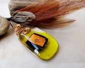 Yellow Fused Glass Pendant Black Copper Dichroic Glass Copper Wire Wrapped Pendant Handmade Jewelry #FG3