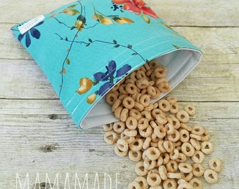 Delicate Blooms - Medium Reusable Sandwich Bag from green by mamamade