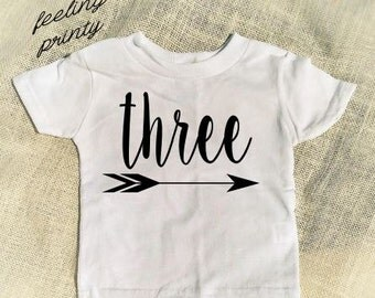 Third Birthday Three Shirt  Birthday Shirt Choose Color Girls Boys Birthday Shirt