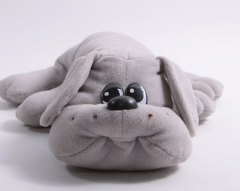Vintage Grey Pound Puppy Large Plush Dog With Collar