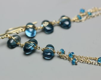 London Blue Topaz Earrings . Blue Topaz Pebble Earrings . Long Chain Earrings .