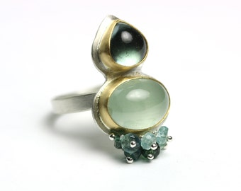 Indicolite Tourmaline and Aquamarine Statement Ring. 18k Solid Gold and Sterling Silver Ring. US size 8 1/2.
