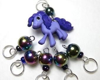 Hand Made Stitch Markers -- I Wanna Pony! (Purple)