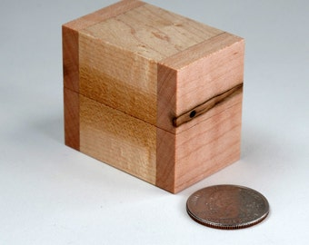 Wedding Ring Box, Engagement Ring Box, Ring Bearer Box, Ambrosia Maple, Birds Eye Maple, Single Ring Box, Double Ring Box