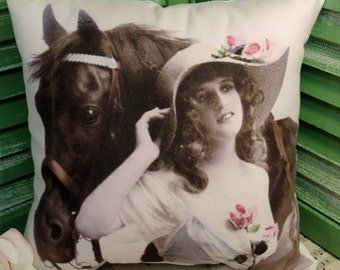 Vintage Victorian Horse Pillow, Equestrian Gifts, Shabby Chic Pillow, Horse Decor, Horse Gift