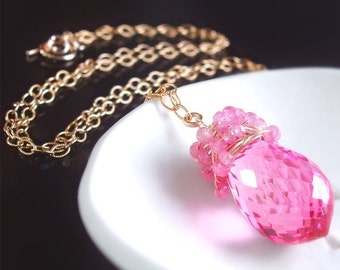 VALENTINES DAY SALE Hot Pink Topaz and Pink Sapphire Gemstone Necklace
