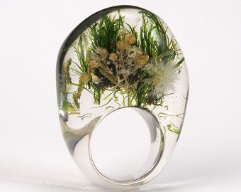 Moss Ring, Clear Resin Ring,Botanical Jewelry, Terrarium Ring, Resin Jewelry, Nature Resin Ring, Eco Resin Ring