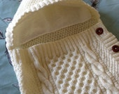 Cosy Cream Aran Baby Sleeping Bag/ Baby Cocoon/ Baby Snuggle Sack- Newborn to 9 Months- Ready to Ship