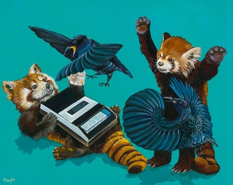 Digital Print from original Artwork 11x13.75 Red Pandas fighting Riflebirds over a vintage cassette recorder