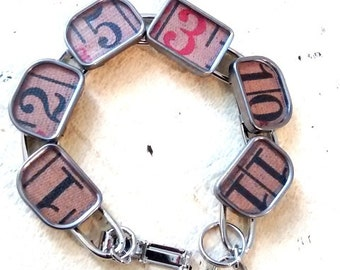 Vintage tape measure Bracelet numbers typewriter keys industrial handmade artisian recycle repurposed