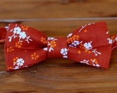 Boys Orange Bow Tie - boy's dark orange white ditzy flowers cotton bowtie, bow tie for baby infant toddler child preteen boy kid, pre-tied