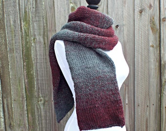 Double Knit Scarf, Oxford Grey and Claret Wine Scarf, Mens Scarf, Womens Scarf, Thick Winter Scarf