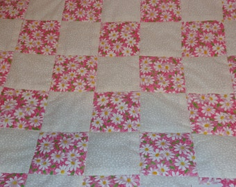 Pink and White Daisy Patchwork Handmade Baby Toddler Quilt