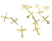 18k Gold Plated Jacks Charms (4x) (M875-E)