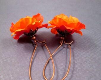 Fabric Flower Earrings, Orange Blossoms, Copper Dangle Earrings, FREE Shipping U.S.