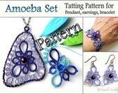 "Tatting Pattern ""Amoeba Triangle"" for pendant earrings and bracelet PDF pattern Instant Download"