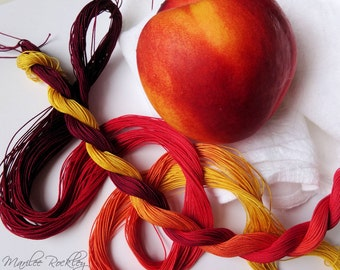 "Size 20 ""Nectarine"" hand dyed thread 6 cord cordonnet tatting crochet cotton"