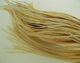 """10 Natural Light Ginger Variant, SKINNY Hair Feather Extensions, 8"""" to 10"""" Long"""