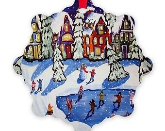 Magical Ice Skating Whimsical Colorful Folk Art Holiday Snowflake Aluminum Ornament
